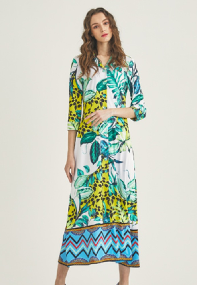 Tactfulkiosk탁풀키오스크 OPEN COLLAR PRINTED MAXI DRESS-YL