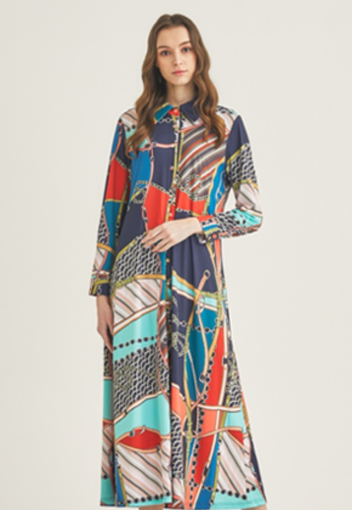 Tactfulkiosk탁풀키오스크 LONG SLEEVE PRINTED MAXI DRESS-MIX