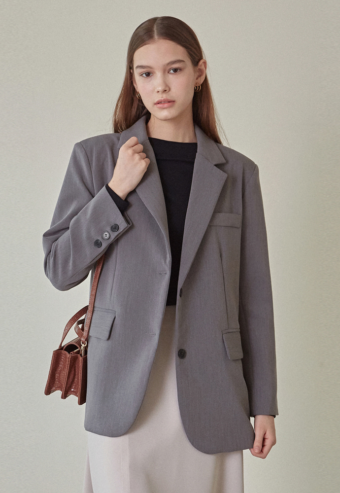 L'OEIL로에일 SOLID BASIC SINGLE JACKET_GRAY
