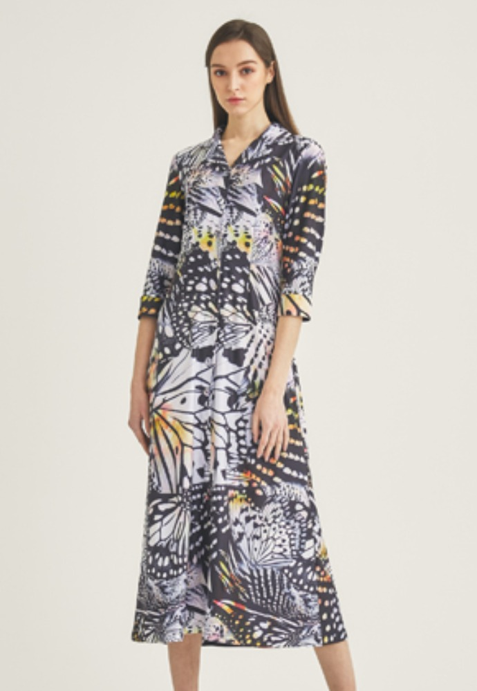 Tactfulkiosk탁풀키오스크 OPEN COLLAR PRINTED MAXI DRESS-MIX