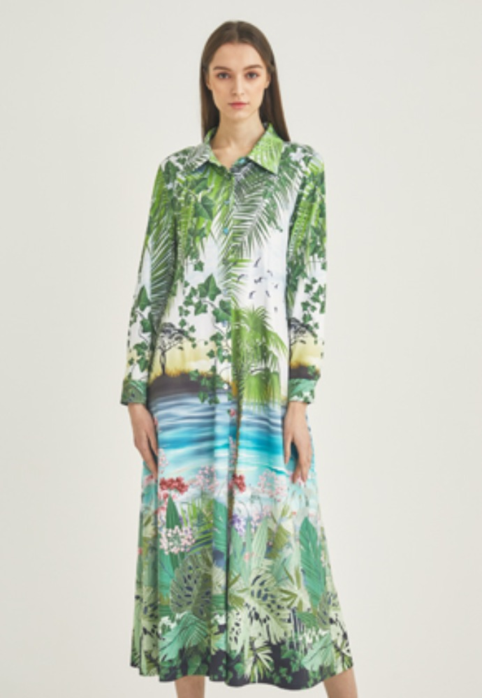 Tactfulkiosk탁풀키오스크 LONG SLEEVE PRINTED MAXI DRESS-GN