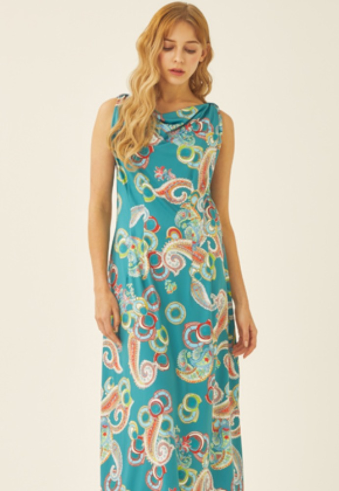 Tactfulkiosk탁풀키오스크 SLEEVELESS PRINTED MAXI DRESS-MN