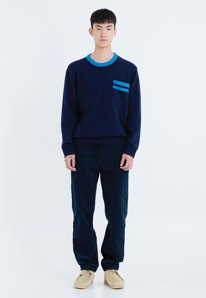 OURSCOPE아워스코프 Color Line Knit (Navy)