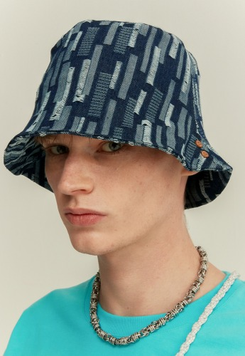 Anderssonbell앤더슨벨 UNISEX ETHNIC BUCKET HAT aaa246u(DENIM)