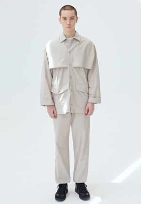 COUCOU코우코우 [COUCOU] CAPE POCKET SHIRT SET UP_BEIGE