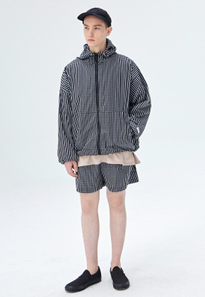 COUCOU코우코우 [COUCOU] ZIP-UP WINDBREAKER SET UP_BLACK CHECK