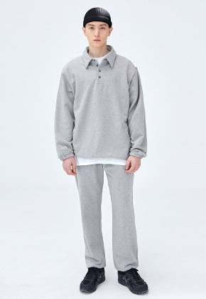 COUCOU코우코우 [COUCOU] STRING SWEAT PIQUE SHIRTS SET UP_GRAY