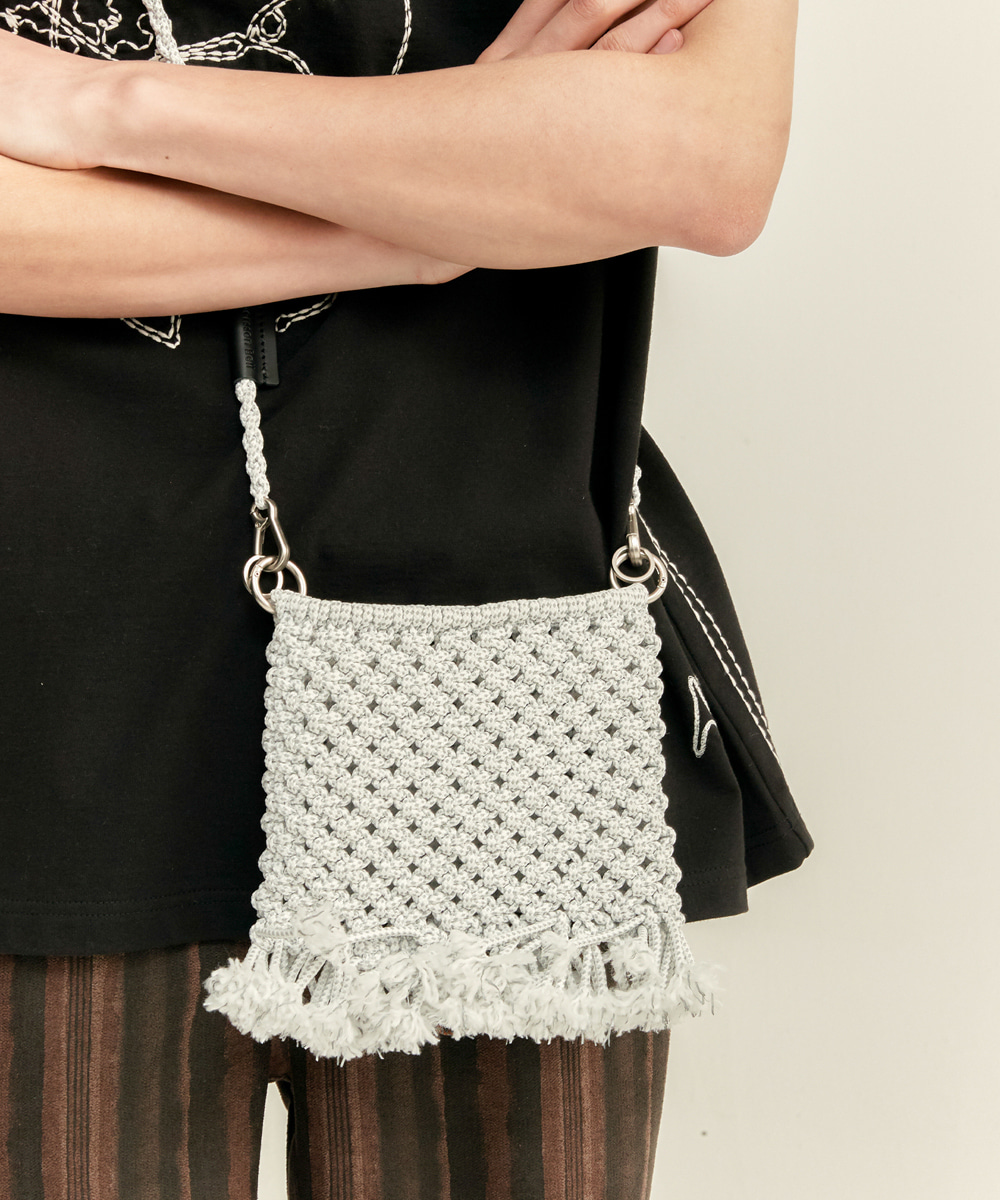 Anderssonbell앤더슨벨 UNISEX HIPPIE CROCHET BAG aaa249u(WHITE(Reflective))