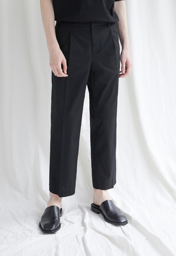 Garment lable가먼트레이블 Hidden Banding Linen Wide Slacks- Black