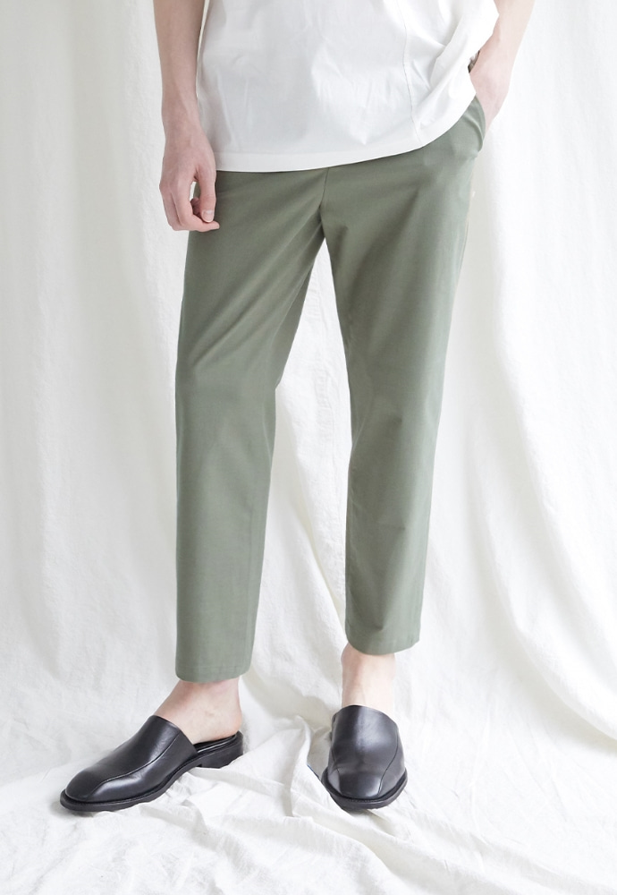 Garment lable가먼트레이블 Hidden Banding Linen Tapered Slacks-Khaki