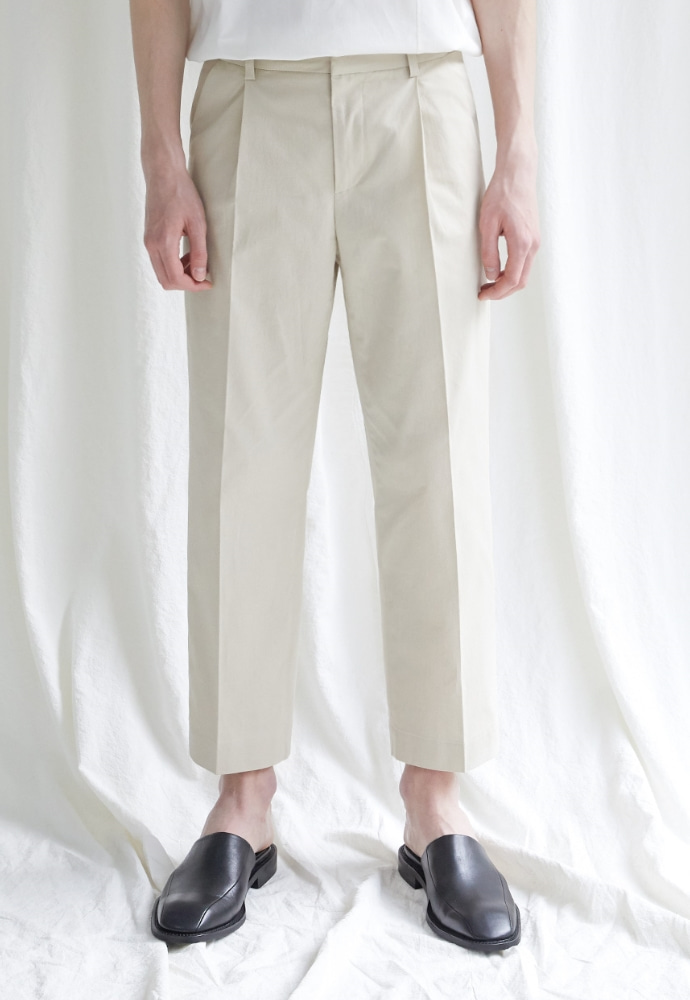 Garment lable가먼트레이블 Hidden Banding Linen Wide Slacks-Light Beige
