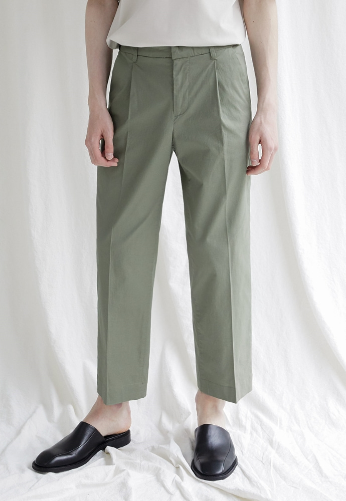 Garment lable가먼트레이블 Hidden Banding Linen Wide Slacks- Khaki