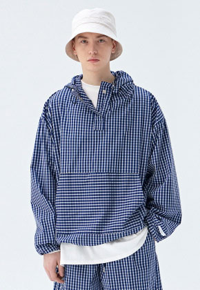 COUCOU코우코우 [COUCOU] TRAINING TRACK ANORAK_BLUE CHECK