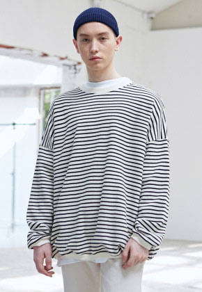 COUCOU코우코우 [COUCOU] OVERSIZED STRIPE CREWNECK_CREAM