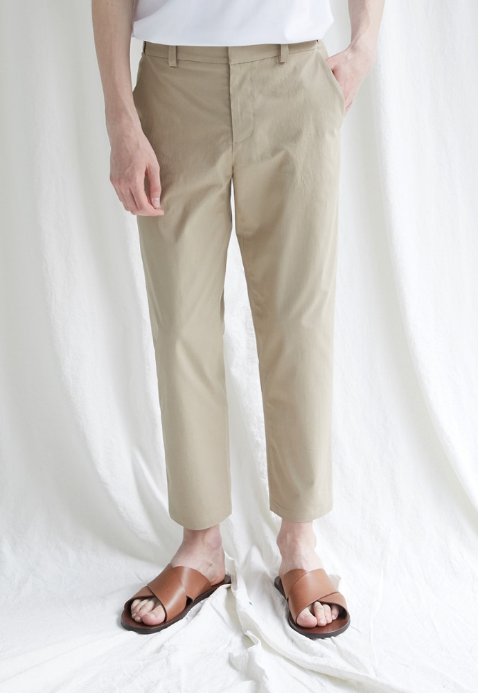 Garment lable가먼트레이블 Hidden Banding Linen Tapered Slacks-Beige