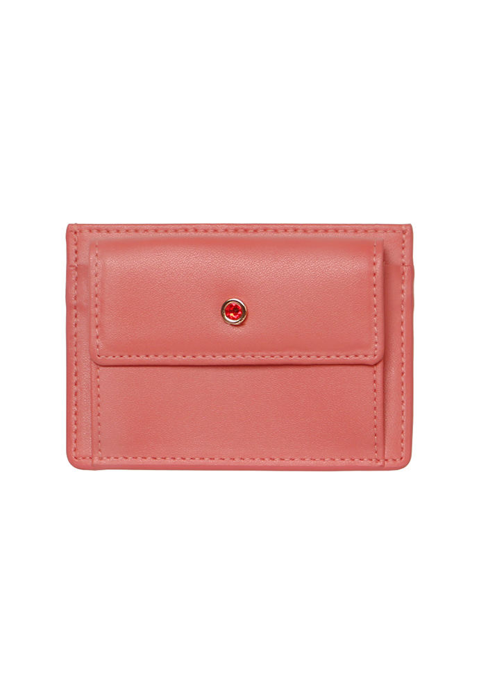 D.LAB디랩 (탄생석지갑) Blumen Pocket Card Wallet - Coral
