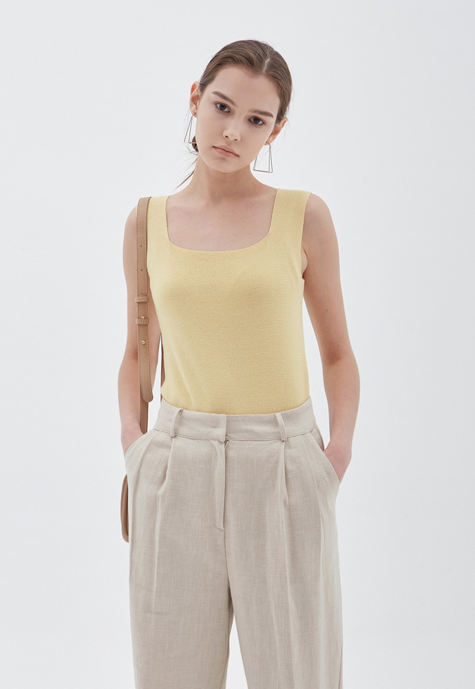 L'OEIL로에일 SQUARE NECK KNIT SLEEVELESS_YELLOW