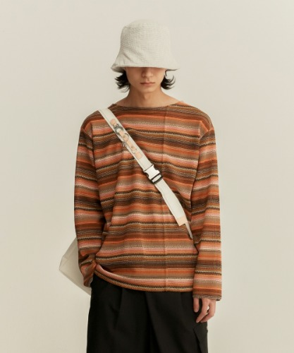 Anderssonbell앤더슨벨 SUMMER STRIPE BOAT NECK PULLOVER atb507m(BROWN/ORANGE)