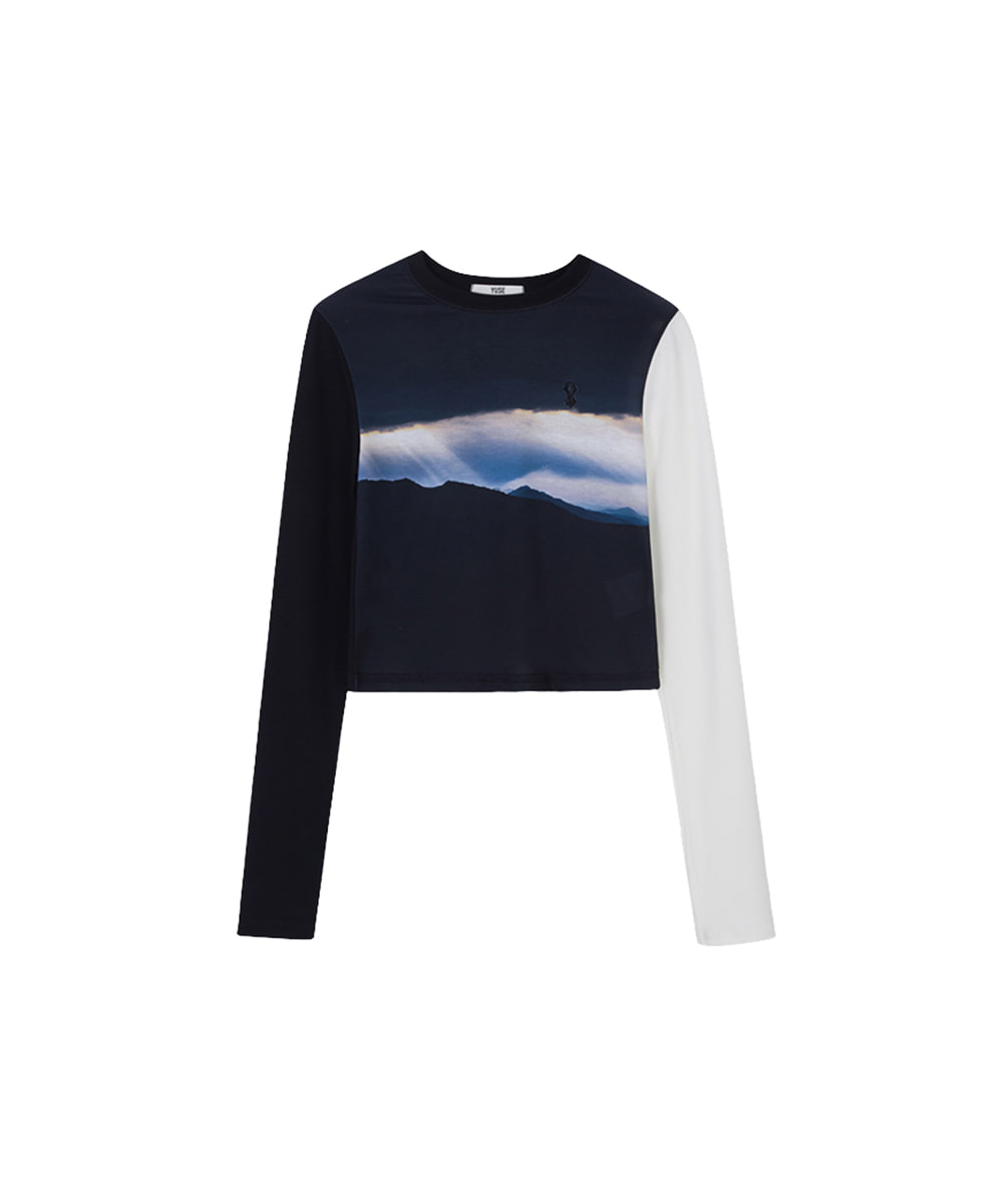 YUSE유즈 SLIM JERSEY PRINT LONG SLEEVE LINE T-SHIRT - GLIMMER OF LIGHT