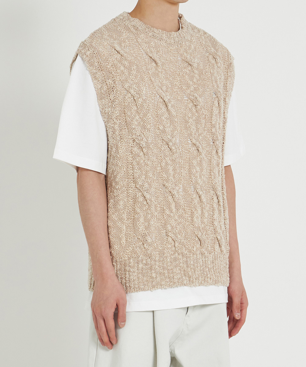 YOUTH유스랩 Twist Cable Knit Vest Beige
